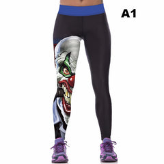2017 Women Colorful 3D Printed Pants Leggings Stretch Fitness Pencil Pants