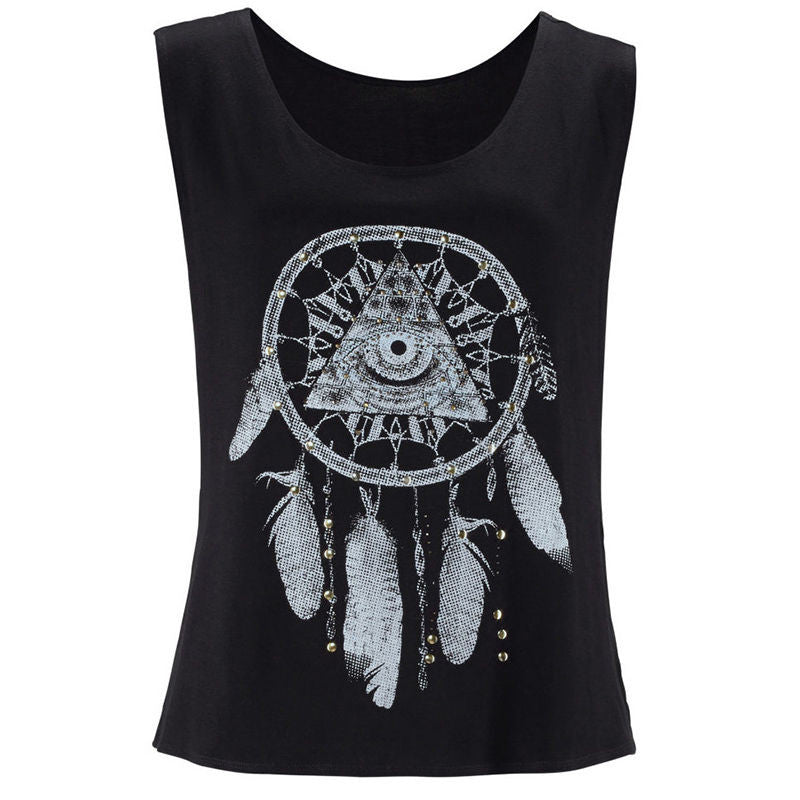 Sale Fashion Summer Women Ladies Summer Loose Casual Tee Sleeveless Vest Boho Dreamcatcher Blouse Tops
