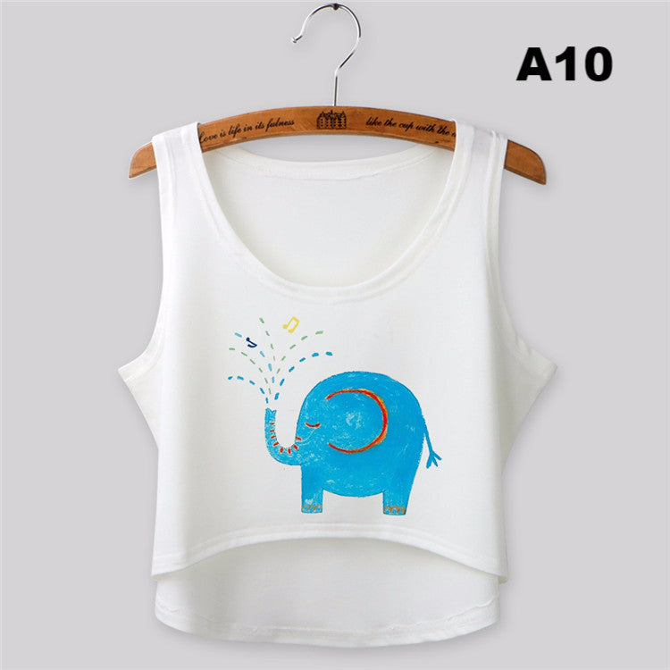 Cropped Feminino Summer Tops Fashion Sleeveless Women Tank Top Sexy Elephant Print Crop Top O-neck camisole Vest Tees