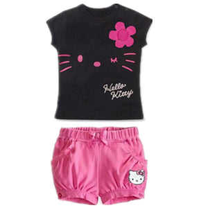 2016 Children Girls clothing set Summer hello kitty cute pajamas costume baby kids child cartoon clothes sets suits