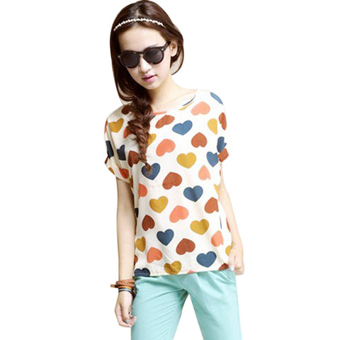 2017 New Hot explosion models Chiffon  T Shirts Tops Loose Ladies T-shirts  Striped