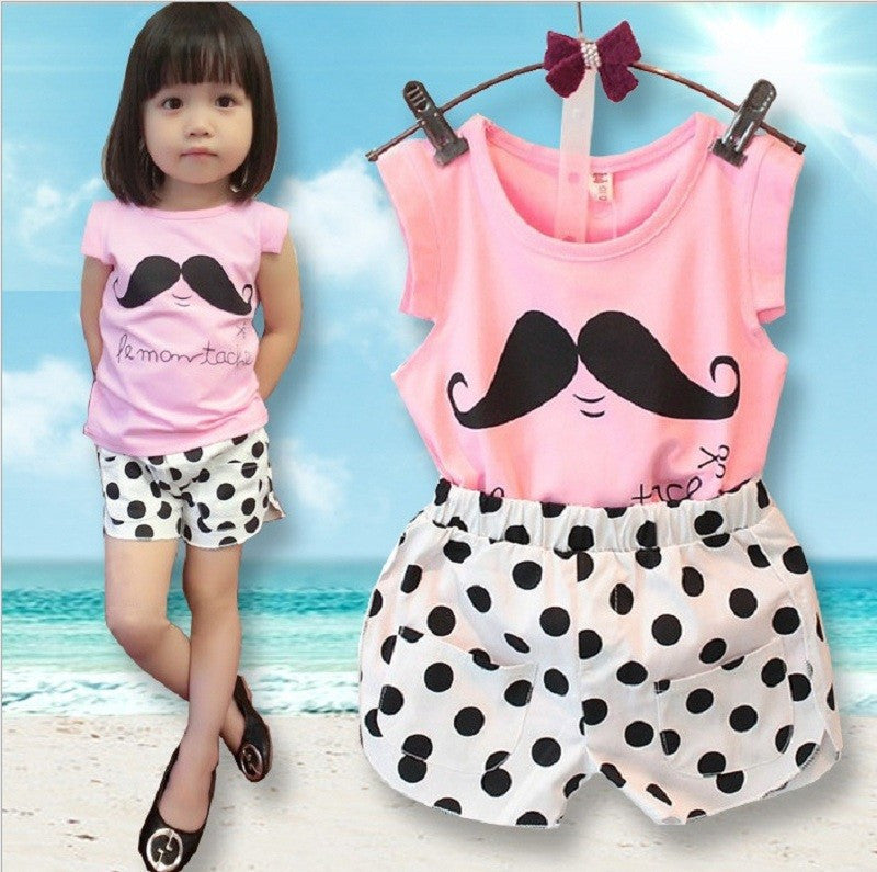 b3e15269892f 2016 Summer Style Baby Girls Clothing Set Sleeveless T-shirt+Polka ...