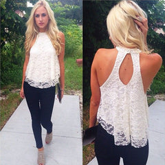 Casual Solid Top Women Halter Top Cropped Femme Blouses Vest Womens Off Shoulder Sexy Tops Female OL Lady Lace Loose Tanks
