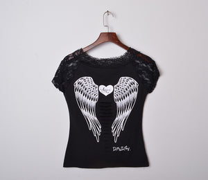 Fashion Women's T shirt Back Hollow Angel Wings  T-shirt Tops Summer Style Woman Lace Short Sleeve Tops T shirts Clothing