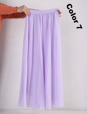 a517ae4f2ed9 Women Chiffon Long Skirts Candy Color Pleated Maxi Skirts 2017 Spring  Summer Skirts M L XL 17