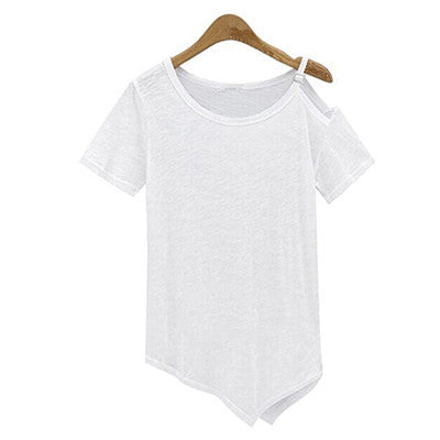 New Solid camisetas Summer Cotton t-shirt Fashion Tops  Punk Rock tee shirt femme Off the Shoulder Strap T Shirt Women C487