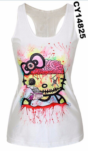 Women Digital Print Gothic Punk Club Street Style T-Shirt Sexy Women Tops Tees