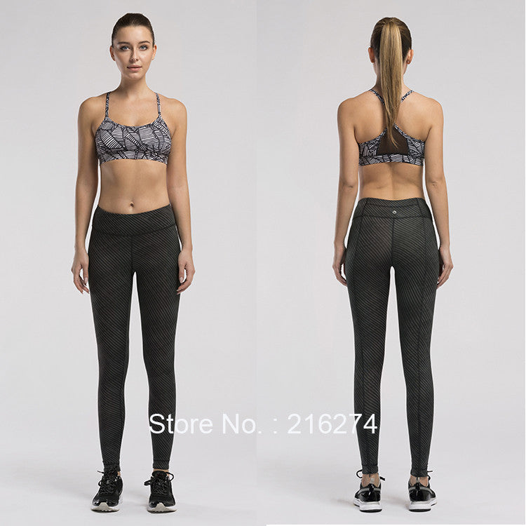 Women Yoga Compression Pants Elastic Tights Female Exercise Sports Fitness Jogging Jogger Running Trousers Gym Slim Leggings