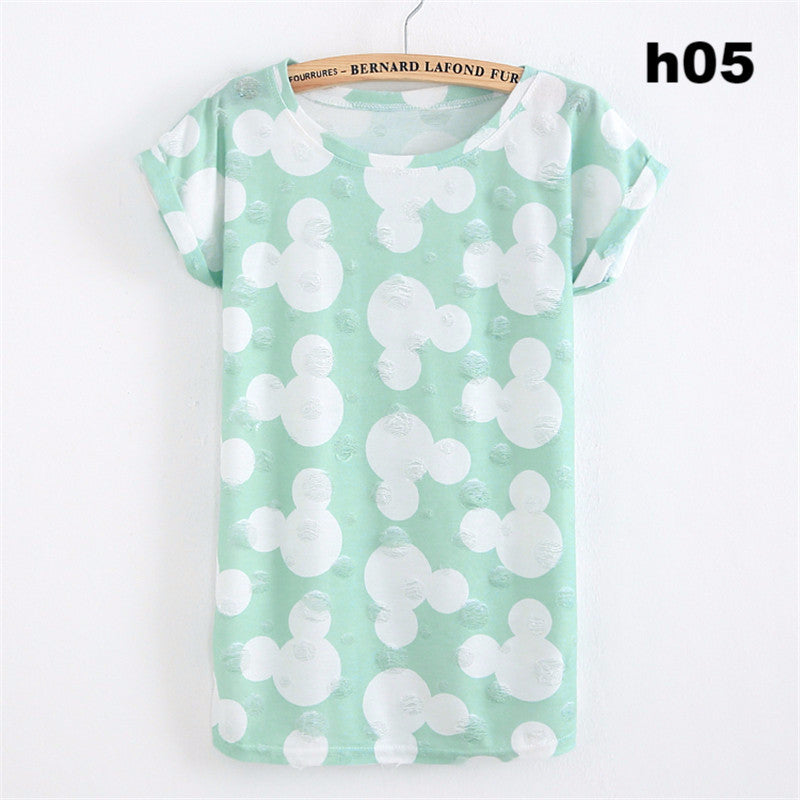 Summer Fashion Tassel Design Hole T-shirt Micky Mouse Print Frayed Hole T Shirts Female Short Sleeve Sexy Thin Ladies Tops