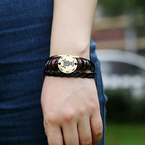 12 Zodiac Sings Fashion Jewelry Leather Bracelet Women Casual Personality Alloy Sagittarius beaded Vintage Punk Bracelet