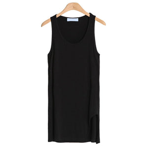 New Arrival Summer Style Women Modal Casual Long Tanks Tops Sleeveless Solid Vest Beautiful Slim Tops with White and Black