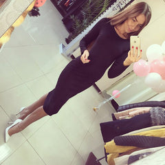 2017 Long Sleeve Knee Length Midi Dress Slim Bodycon Bandage Autumn Black Wine Red Women Dresses Bandage Vestidos