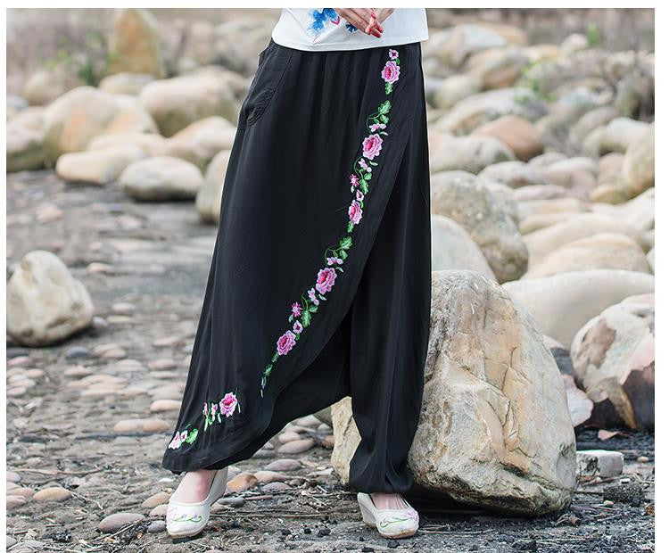 False Two Retro Flower Embroidery Black Harem Pants Women's Casual Trousers Loose Big Yards Palazzo 2016 Spring New
