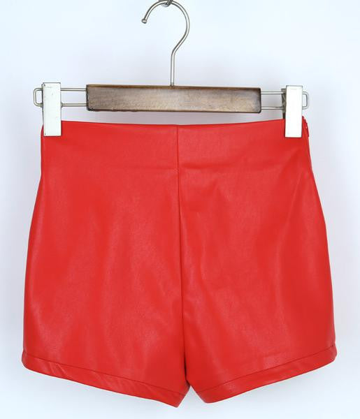 2016 New Fashion Summer Women's Sexy Black Red PU High Waist Shorts Vintage Slim Slit High quality Plus size 2XL Leather Shorts