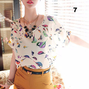 Hot Selling Lots Women Lady Batwing Chiffon Polyester T-Shirt Casual Printed Shirts 1111