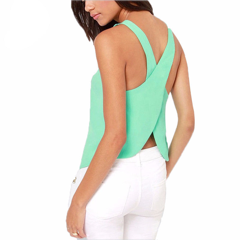 Summer Women Blouses Strapless Candy Color Shirts Sexy Backless Strap Chiffon Blouse Crop Tops Ladies' Vest