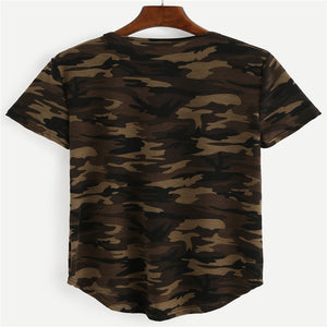Summer Tops Tees Ladies Short T Shirt women Camouflage Print T-shirt Cotton Female Shirts Loose Woman Clothes Vestidos