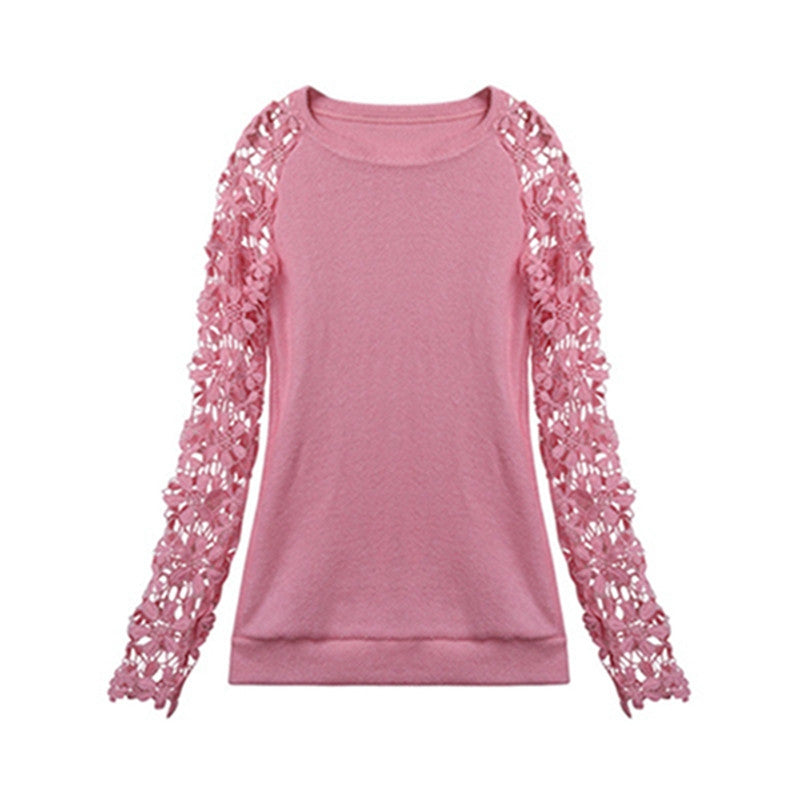 Spring Autumn Fashion Women 2016 Long Sleeve Lace Patchwork Casual Pullover Ladies Sweaters Plus Size S-XXXL