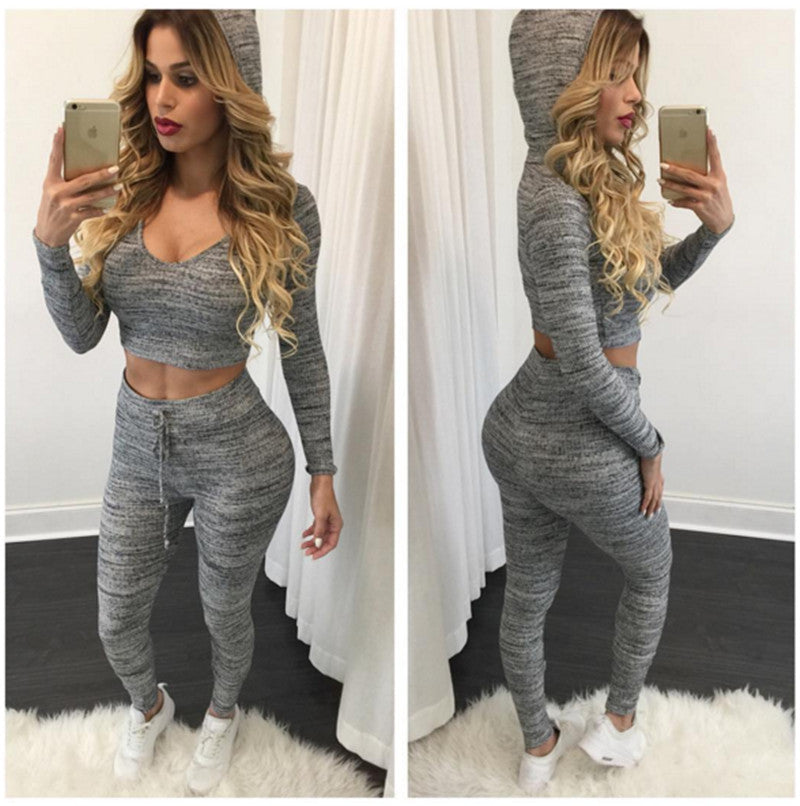 Spring Women Two Piece Outfits Pants Set Rompers Jumpsuit Long Pants 2 Piece Set O-neck Crop Tops Bodycon Palysuit Wholesale