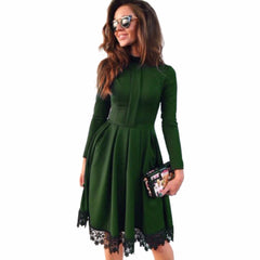 2017 Autumn Winter New Fashion Women Sexy Long Sleeve Slim KNEE-LENGTH Dresses Green Party Dresses Hot Plus Size