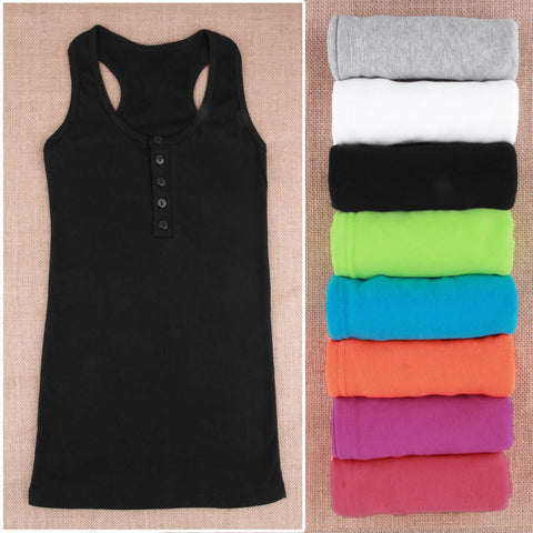 1Pc Ladies Multicolor Long Sleeveless Bodycon Temperament Cotton Long T-shirt Tank Top Women Vest Tops regatas feminino Hot
