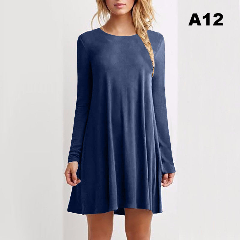 14 Colors new fashion cotton autumn winter brief women long sleeve casual loose blue red dress  pleated mini party dresses
