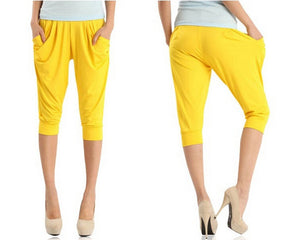 Candy Colors Women's Thin Ice Silk Pants New Fashion Solid Harem Pants Casual Loose Slim Capris Leggings