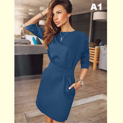 2017 Autumn Dress Women Fashion Casual Mini Dress Solid Color Short  Sleeve O-neck Women Dress Two Side Pocket Black Dresses