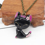 Vintage Black Drip Paint Cat Sweater Chain Necklace Statement Necklace Women Steampunk Necklaces & Pendants