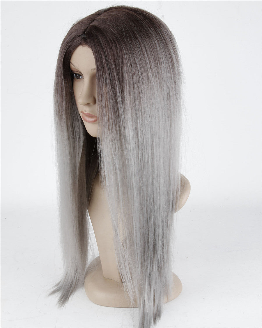Ohyes Long Straight Hair Brown To Grey Ombre wig Heat Resistant Fiber Synthetic Cosplay Wigs   peruca pelucas