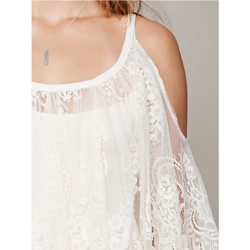Sexy Lace Dress Floral Casual White Strap Off Shoulder Women Summer Beach Dresses, Vestido praia Femininos