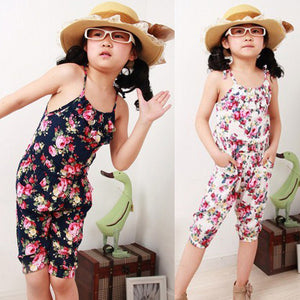 2-8Y Summer Style Toddler Girls Clothing  Kids Summer Soft Jumpsuit Playsuit  Clothing One-piece