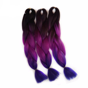 Purple Braiding Hair ombre Two Tone High Temperature Fiber expression braiding hair 100g/pcs synthetic braiding hair Extensions
