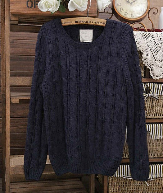 Warm Sweaters 2016 Women Fashion Casual Knitted Pullover O-Neck Long Sleeve Solid Navy Blue / White Slim OL Lady Brand Sweater