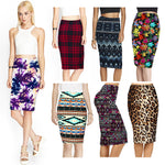 2017 Spring Summer Vintage Fashion Printed Pencil Skirt Midi Women Knee-Length Elastic High Waist Ladies Pattern Skirts