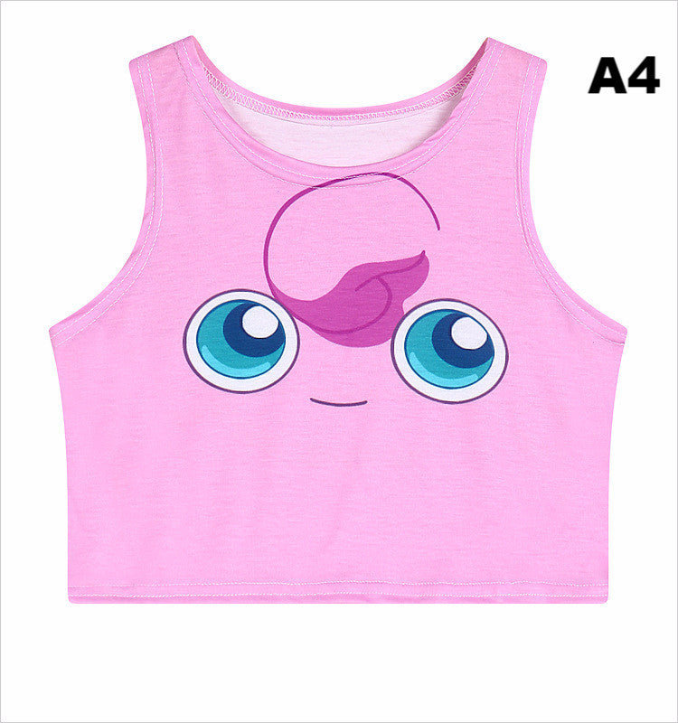 Women's Squirtle Jigglypuff Pikachu AA style Bustier Crop Top Sexy Camisole 3D Pokemon cartoon Print cropped tank Top TS-079