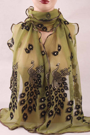 2016 Wonderful Chiffon Peacock Long Soft Scarf more color Size 190*43mm Wrap Shawl Stole For Stylish Women/Girls Free shipping
