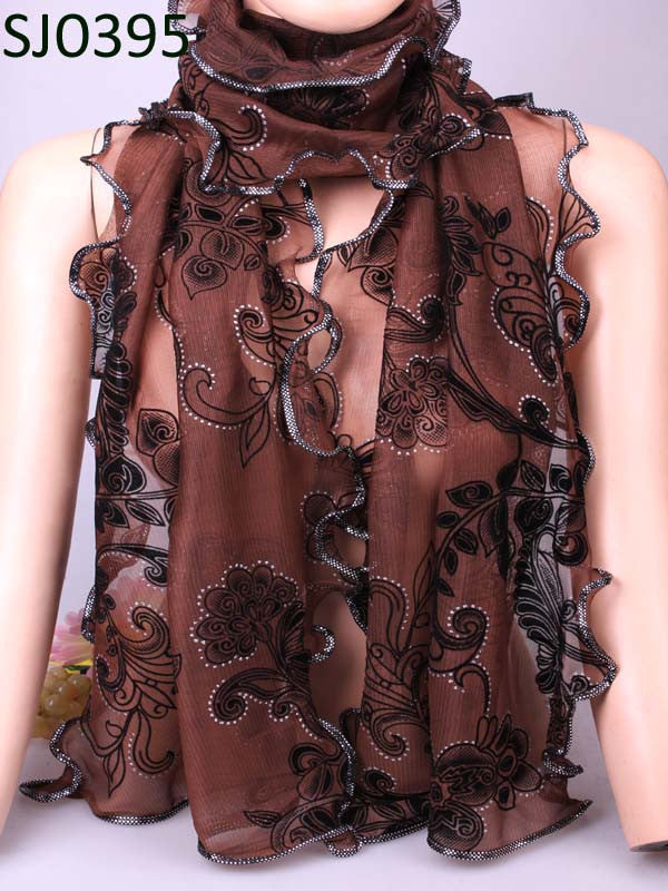 Charm scarf  Vintage Warm Flower Bohemian Shape Chiffon Silk Rayon Microfiber Scarves & Wraps Shawl For Women Free Shipping