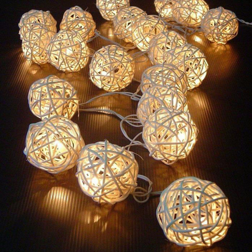 20 LED Three Colors Rattan Ball String Fairy Lights For Xmas Wedding Party Hot Happy Christmas Gifts High Quality