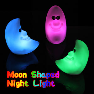 1 PC Plastic Novelty Lamp Changing Color LED Energy Night Light Moon Shaped Colorful Great Gift