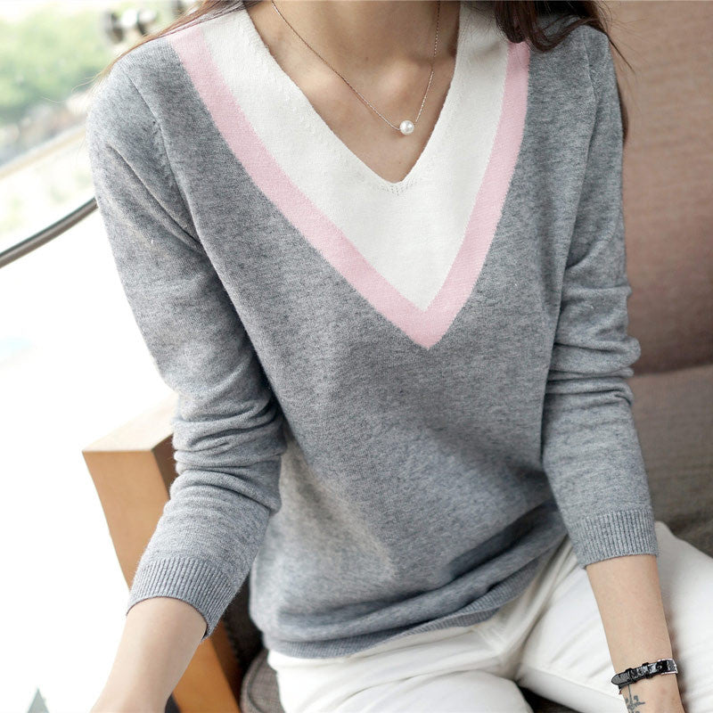New High Quality Autumn winter women knitted shirt long-sleeve outerwear V-neck sweater loose pullover female tops