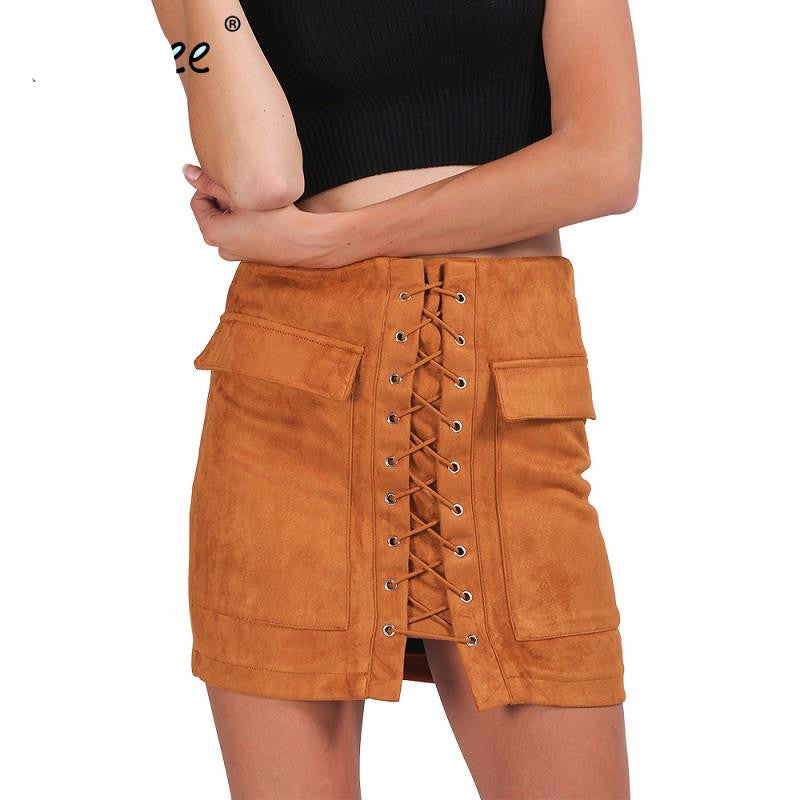 Autumn lace up suede leather women skirt 90's Vintage pocket preppy short skirt Winter high waist casual skirts