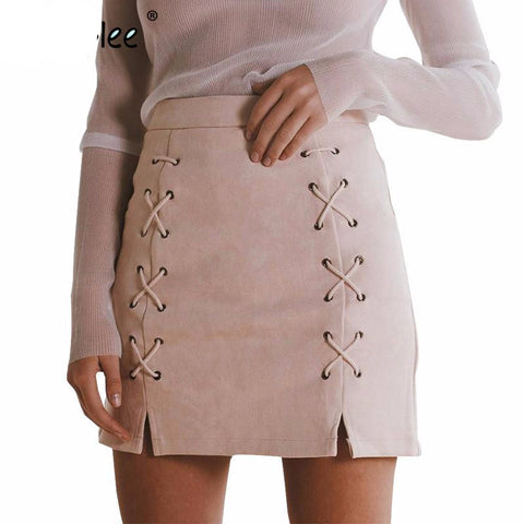 Autumn lace up leather suede pencil skirt Winter 2017 cross high waist skirt Zipper split bodycon short skirts womens
