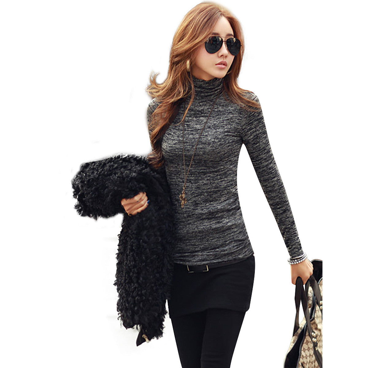 New Arrival Sweaters 2016 Slim Novelty Fashion High Neck Long Sleeve Pullovers Women Solid Black Blue Knitted Tops Plus Size