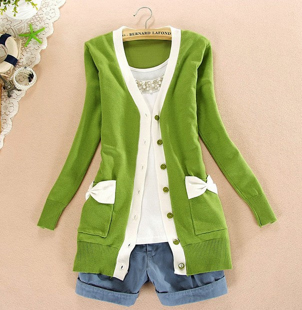 2016 autumn long-sleeve v-neck shirts preppy style solid color pocket bow medium-long sweater Cardigans