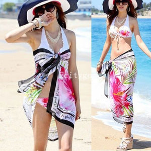 Women Summer Dress Ladies Chiffon Wrap Sarong Beach Swimwear Swimsuit Beach Bathing Suit Cover Up Bikini Scarf Pareo for Xmas