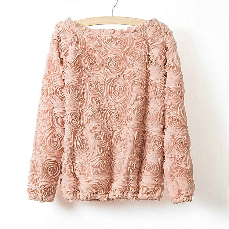 2016 Hot sale brand pullover women 3D flowers sweater three dimensional roses wrist sleeve pullover sweater women free shipping