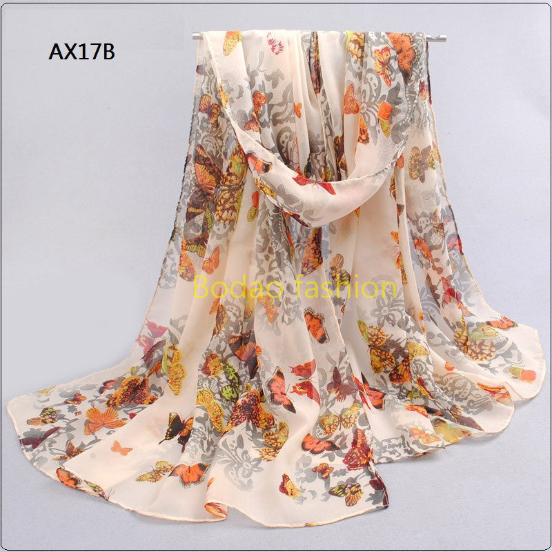 Chiffon Silk Scarf Female Summer Autumn Wrap Long Design Air Conditioning Cape Silk Scarves Shawl