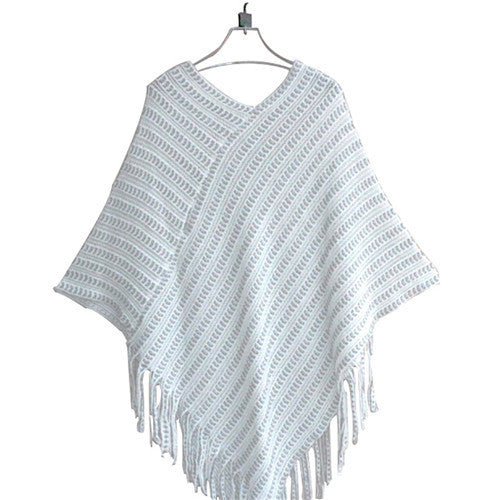 Womens Ladies Cape Coat Fringe Poncho Oblique Stripe Coat Bohemian Shawl Scarf