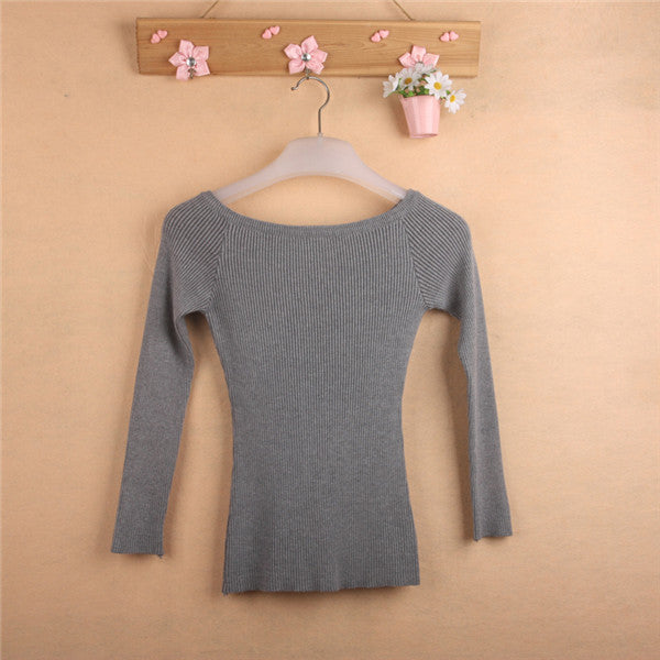 Free Shipping Autumn and Winter basic Women Sweater slit neckline Strapless Sweater thickening sweater top thread slim